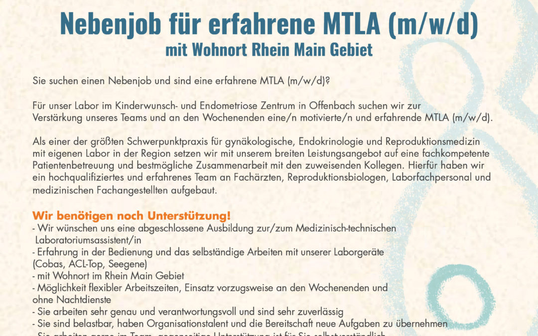 Nebenjob für erfahrene MTLA (m/w/d)